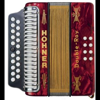 Accordion Double Ray Pearl Red Irish Style C D 21 8 Button Accordian