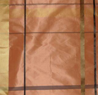 Scalamandre Adam Plaid Taffeta Silk Salmon Black Brown Gold Remnant