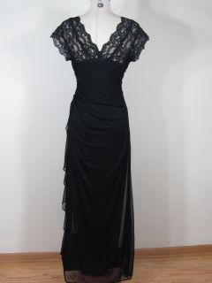 Betsy Adam Black Long Maxi Dress w Lace Top Sz 10 M Medium