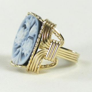 Rose Bouquet Agate Cameo Ring 14k Rolled Gold