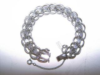 50s Vintage Monet Silver Double Link Hearts Charm Bracelet