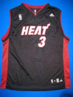 youth XL 18 20 Miami Heat Adidas NBA basketball jersey black shirt