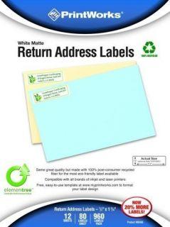 960 PrintWorks White Matte Return Address Labels