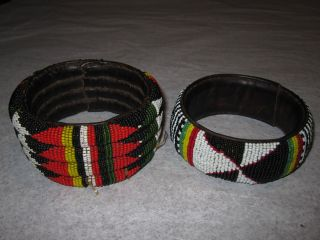 Old Large African Tribal Seed Beaded Bracelets Vintage Bangles Leather