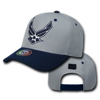 USAF Air Force Wings Logo Two Tone Workout Snap Back Military Hat