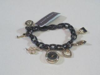 ak anne klein 10 7605 women s swarovski crystal black charms bracelet