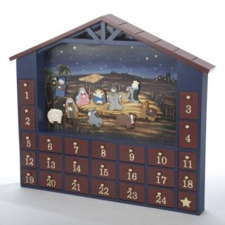 House Shaped Nativity Wooden Christmas Advent Calendar