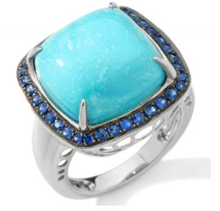 Heritage Gems White Cloud Turquoise and Sapphire Sterling Cushion Ring
