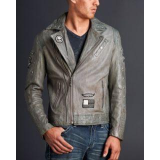 New Affliction Black Premium Leather Jacket Reborn Grey Limited Sz s