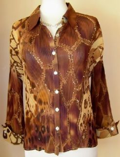 Alberto Makali animal leopard cheetah print shirt blouse pleated top