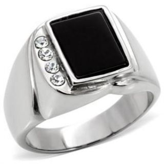 New Stainless Steel Mens Black Agate Ring Sizes 8 13