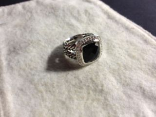 David Yurman 11mm Albion Black Onyx Split Shank Diamond Ring