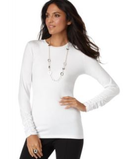Alfani New Ivory Long Ruched Sleeve Crew Neck Pullover Top Shirt L