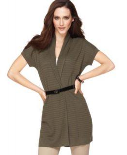 Alfani New Green Belted Dolman Sleeve Pointelle Cozy Cardigan Sweater