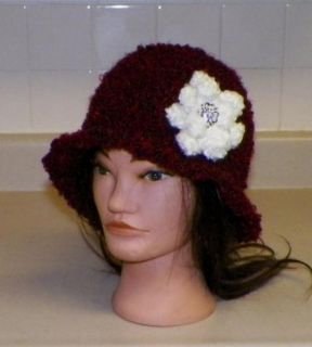 New Crochet Cloche Flapper Chemo Beanie 1920s Hat with Flower Ruby Red