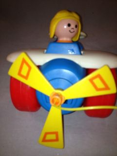 Fisher Price Airplane Pull Toy 1980 No 171 Vintage