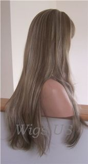 Wigs Light Brown Blonde Highlights Extra Long Skin Part Wig