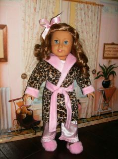 BATHROBE SLIPPERS FITS ALL AMERICAN GIRL DOLLS KIT LANIE 18 CLOTHE