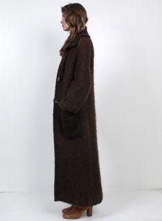Vtg 70s Brown Reversible Puff Sleeves Knit Long Cardigan Sweater Coat