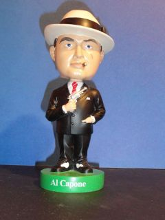 AL CAPONE MAFIA BOBBLE HEAD BOBBLEHEAD GREEN BASE VERY RARE NEW BOSLEY