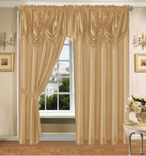 Gold Faux Silk Panel Valance Curtain Drapes Window Set New