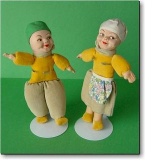 Norah Wellings Dutch Boy & Girl Pair of Vintage Cloth Dolls, Made in