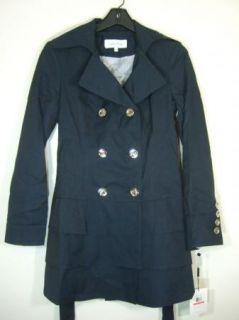Calvin Klein Trench Coat Jacket Womens Navy Blue XS New