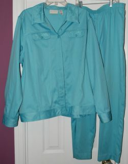 ALFRED DUNNER WOMENS GREEN PANT SUIT CASUAL SIZE 20 W 20W JACKET