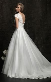 2012 Sexy Short Sleeve Lace Wedding Dresses New Bridal Gown