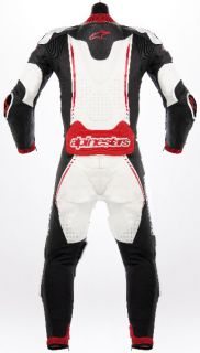 item title alpinestars atem leather suit 54 black white red condition