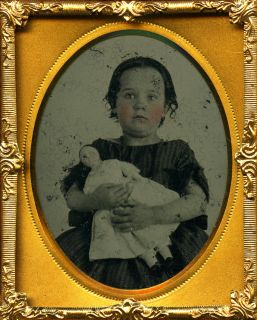 Cute Little Girl Holding Her China Doll Rosy Tinted Cheeks Ninth Plate