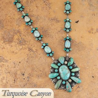 Navajo Native American Carico Lake Turquoise Necklace by Livingston