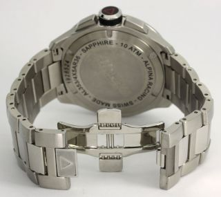 ALPINA MENS RACING STAINLESS STEEL CHRONOGRAPH WATCH 45 MM #A1353 +BOX