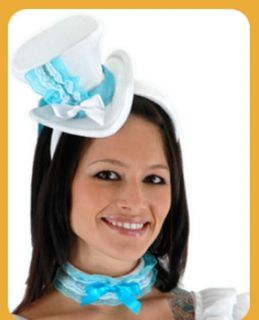 Top Hat Alice White Blue Mini Tea Party Adult Womens Costume Tophat