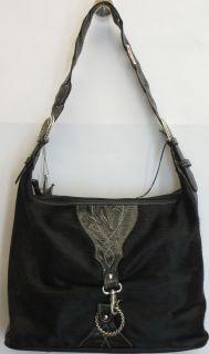 American West Sz M Santa FE Spirit Leather Hobo Handbag Black New