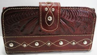 AMERICAN WEST WOMANS BROWN HAND TOOLED LEATHER CLUTCH WALLET PURSE NWT