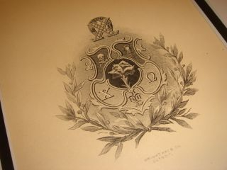 Chi Omega Sorority XO Coat Arms Arkansas Chapter Allegory 1895