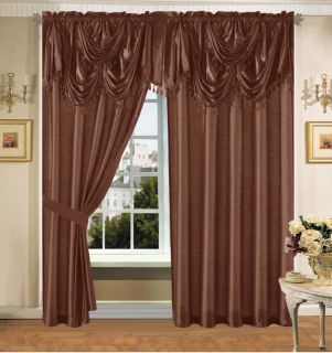 Brown Faux Silk Panel Valance Curtain Drapes Window Set New