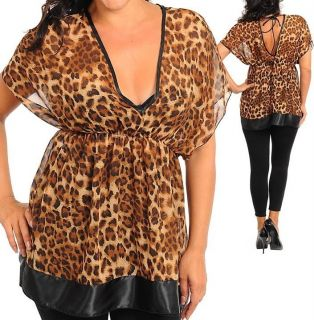 2X 2XL XXL 16 17 18 LEOPARD ANIMAL PRINT CHEETAH PLUS SIZE TOP SHIRT