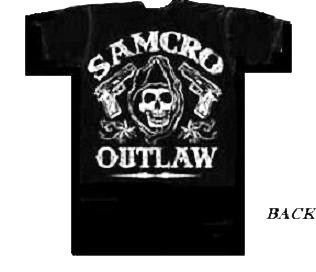 Sons of Anarchy SAMCRO OUTLAW New Licensed SOA 2 Sided T Shirt SIZE