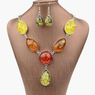 Silver Nature Amber Gem VTG Necklace Pendant Earring Sets A2151K