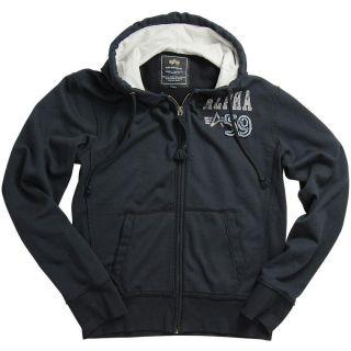 Alpha Industries Vintage Terry Hoodie Sweatshirt Jacket Black Gray s