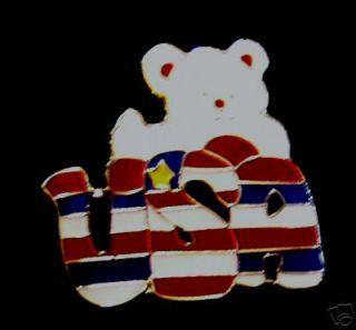 Patriotic Teddy Bear Lapel Pin USA American Flag R25B