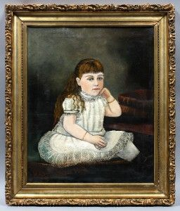 Original Antique American Folk Art Portrait of a Little Girl