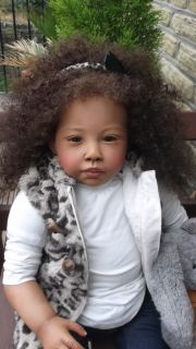 Black AA Toddler Baby Reborn Girl Ethnic Biracial Doll Chenoa by