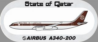 State of Qatar Airbus A340 200 Amiri Flight Sticker Highly RARE