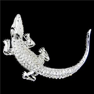 Huge 4 4 Alligator Pin Brooch Rhinestone Crystal Clear Crocodile