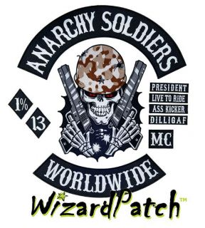 ANARCHY SOLDIERS OUTLAW 10PC BIKER PATCH SET! CHOOSE PATCH COLORS