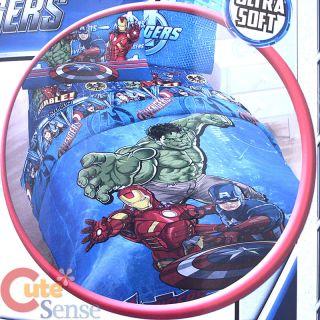 4pc Twin Bedding Comforter Set Iron Man Captain America Hulk