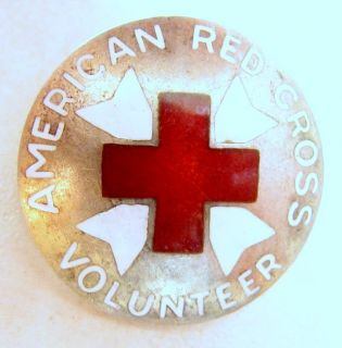 American Red Cross Volunteer ARC Silver INSIGNIA Pin WWII Era